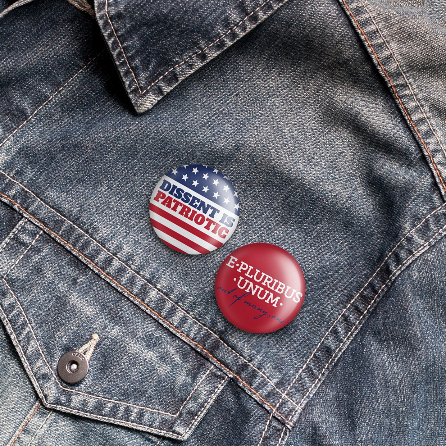 Liberal, Progressive, Dissent, E Pluribus: Buttons on denim jacket