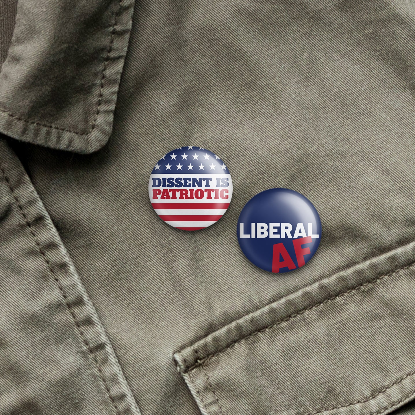 liberal af buttons on denim jacket