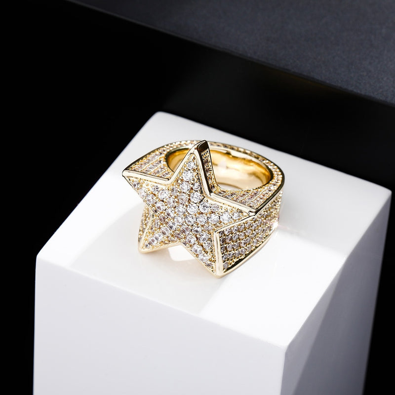 DIAMOND STAR RING 14K