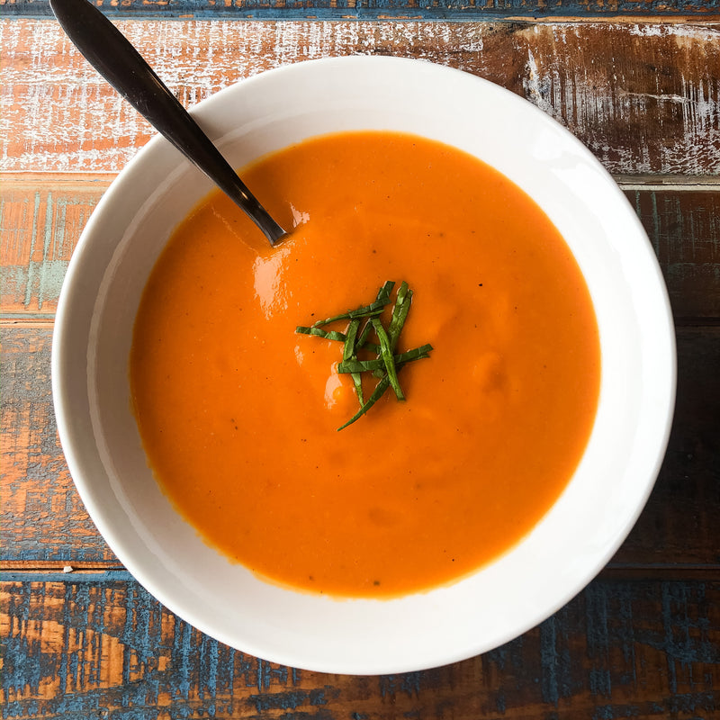 Roasted Red Pepper Sweet Potato Bisque
