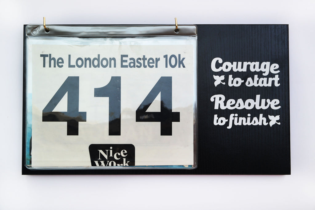 Race Bibs Holder - Courage to Start, Resolve to Finish