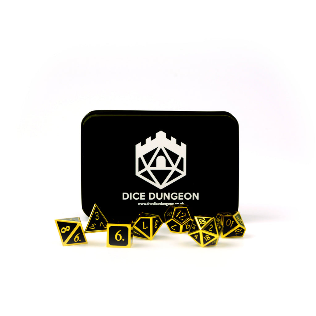dnd dice golden age black with tin