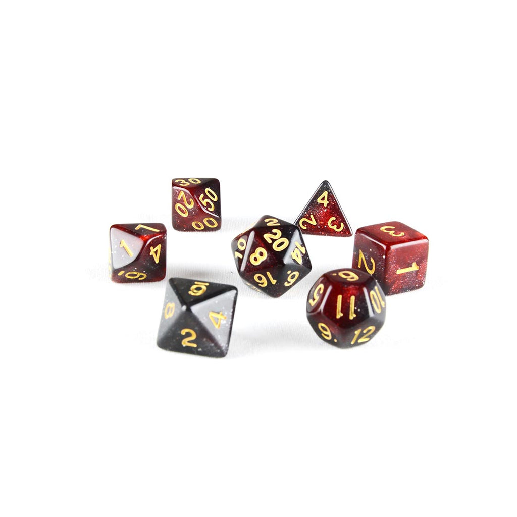 black widow nebula dnd dice set