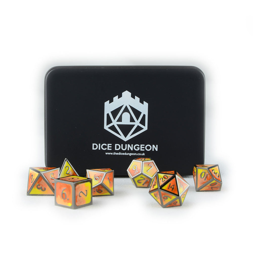 Burning Hands metal dnd dice with tin