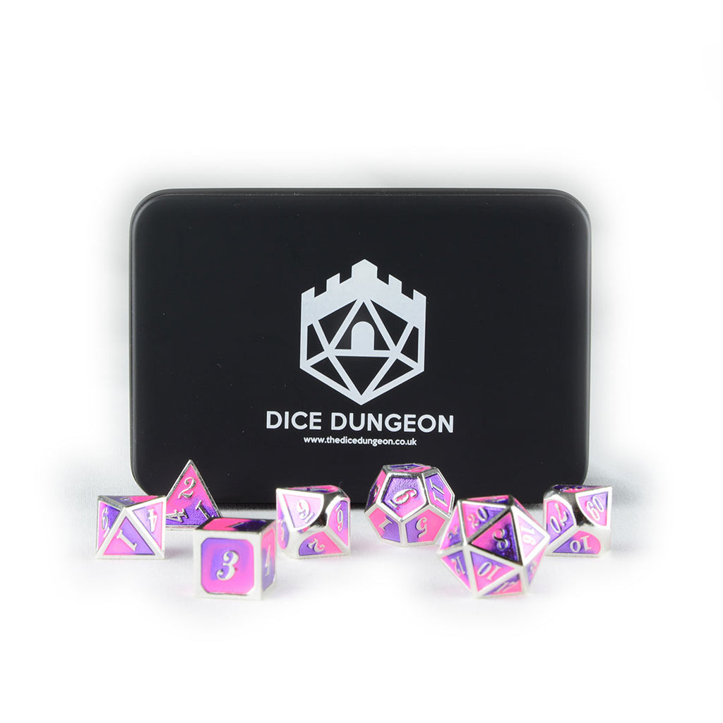 faerie fire dnd dice set with tin