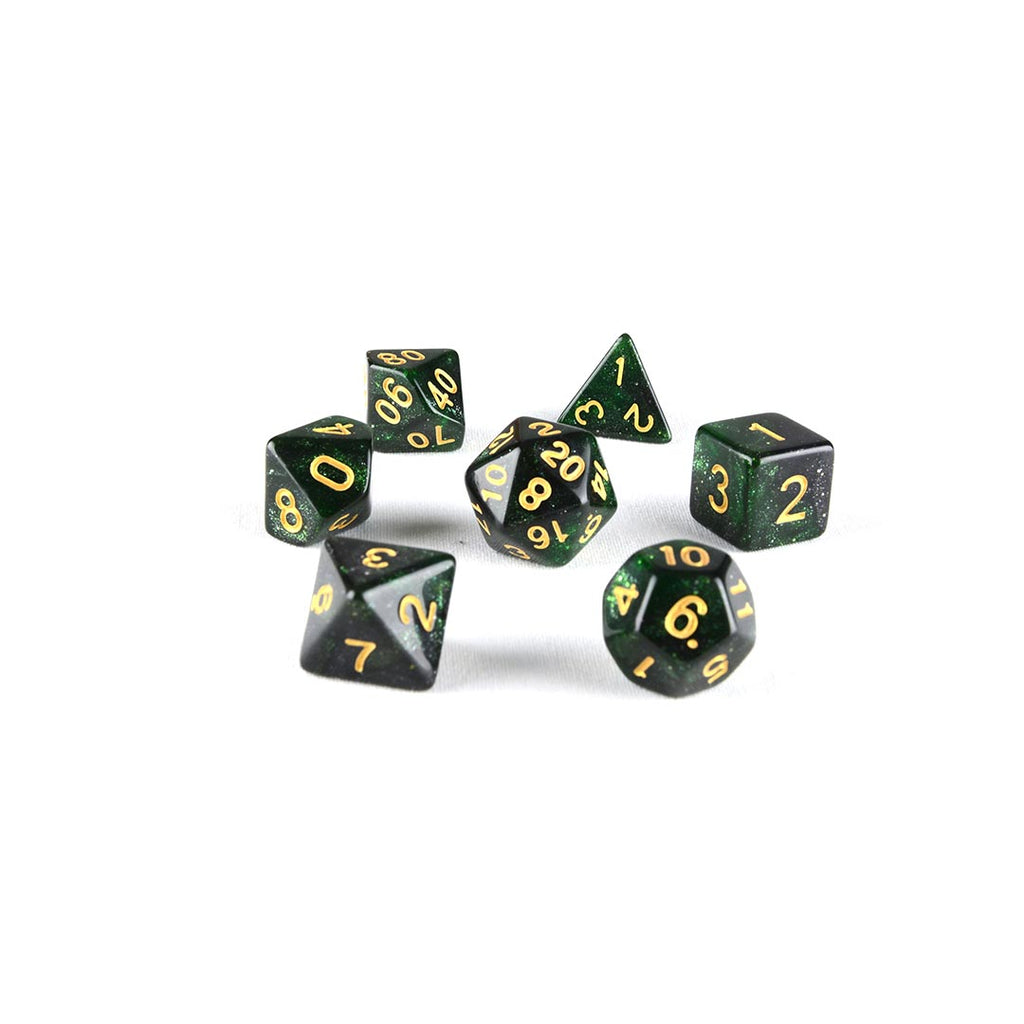 black and green resin dnd dice set