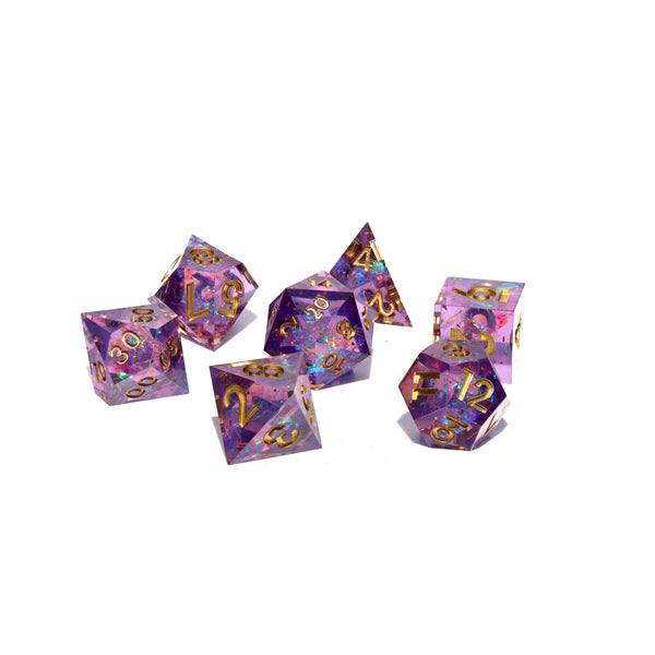 purple sharp edge dnd dice set