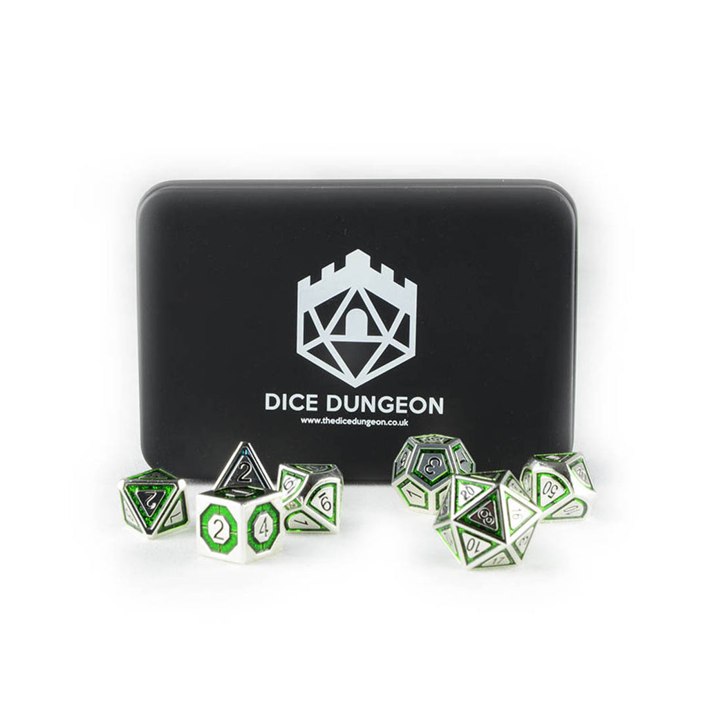 Gaius the Green metal dnd dice set with tin