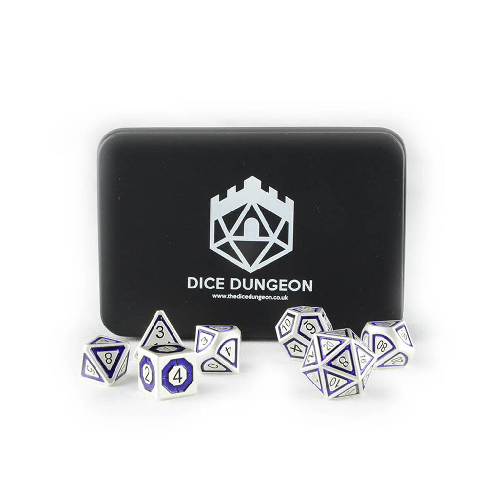 Nox the shade purplee metal dnd dice with tin