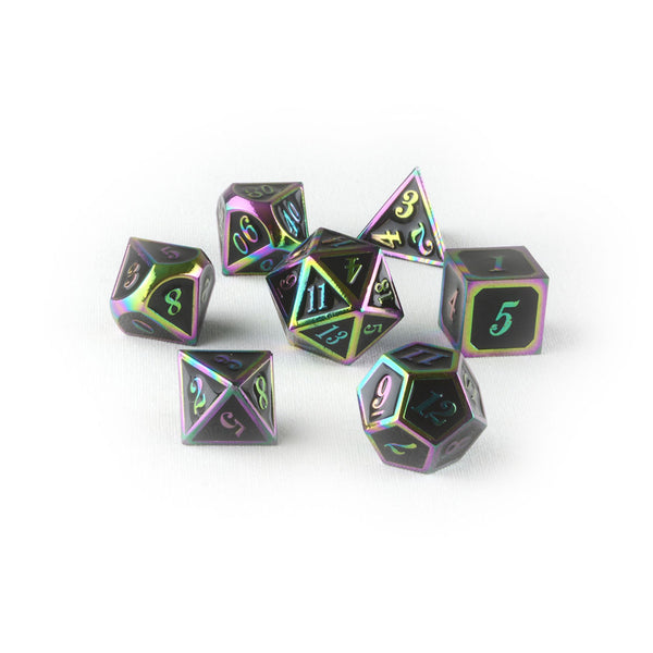 rainbow black dnd dice set