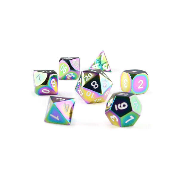 Rainbow colour metal dnd dice set