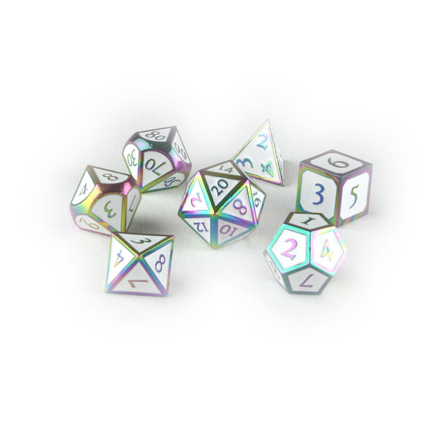 Rainbow White metal dnd dice