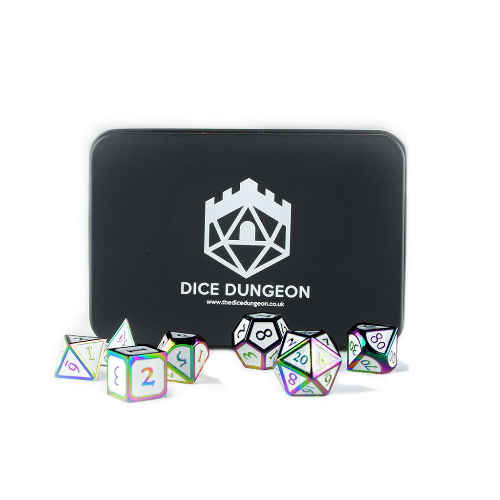 Rainbow White metal dnd dice with tin
