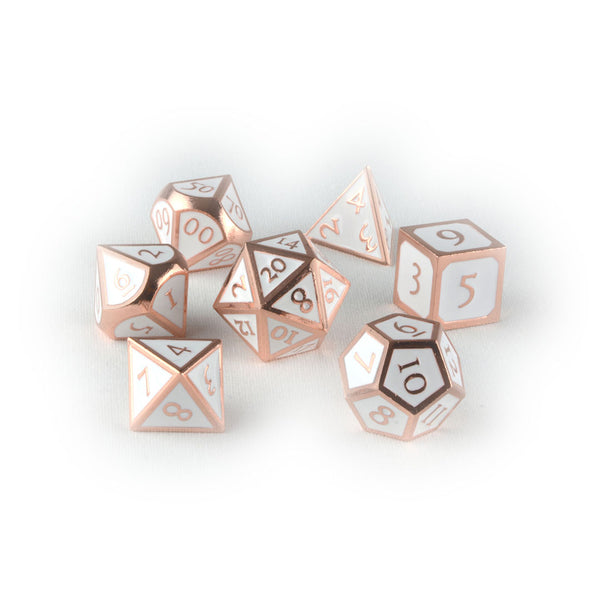 Rose gold metal dnd dice