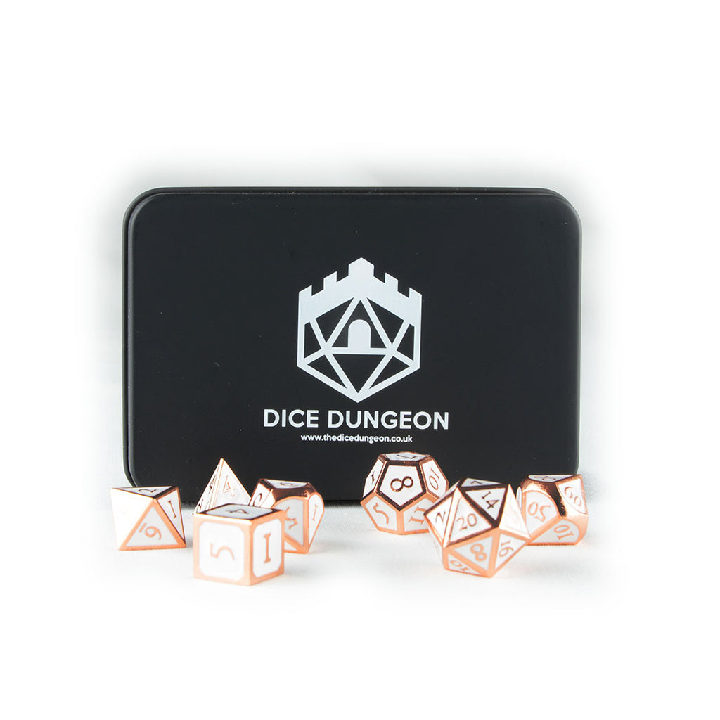Rose Gold metal dnd dice with tin