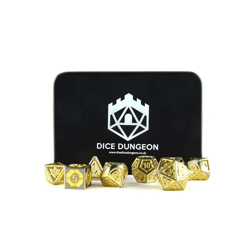 golden metal dnd dice with tin