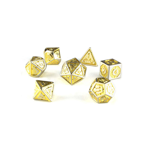golden metal dnd dice set