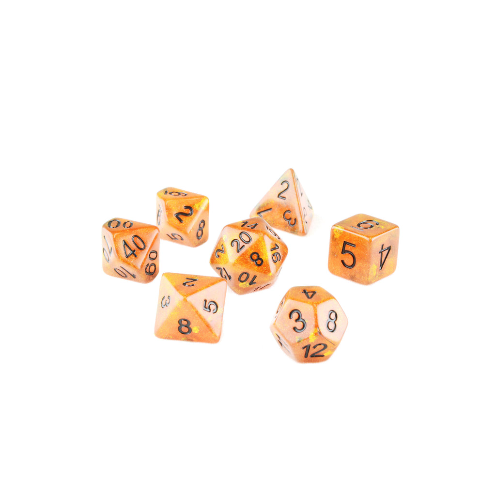 orange and gold dnd dice