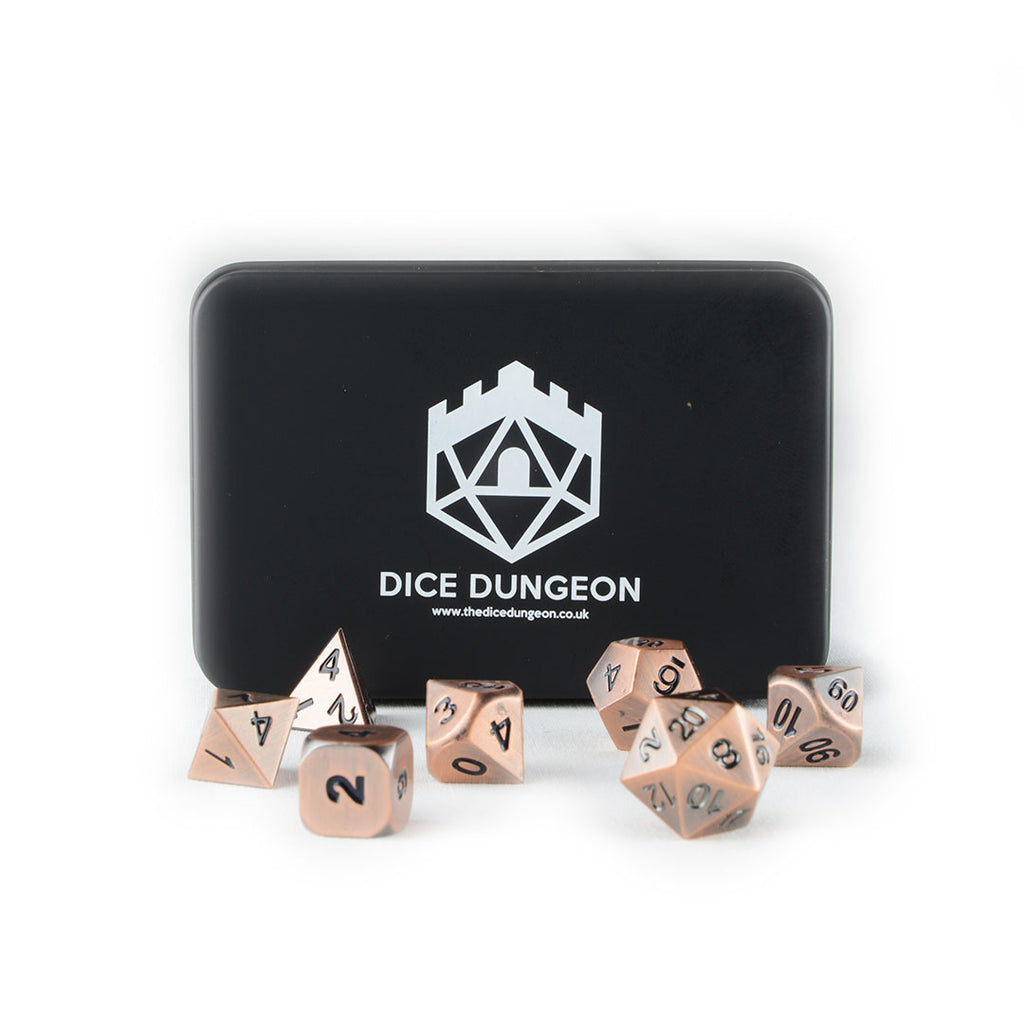 Tarnished Bronze metal dnd dice set with tin