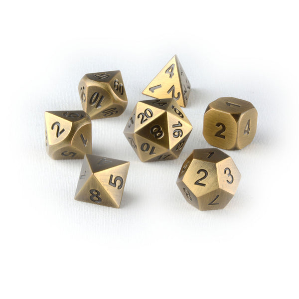 Tarnished gold metal dnd dice set