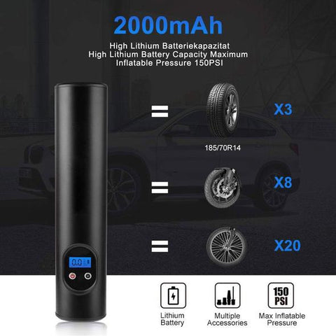 ADTZYLD Air Compressor Portable Tire Inflator Rechargeable Air Pump Mini Cordless with Digital LCD LED Light for Car, Bike, Inflatables, Basketball, Volleyball, Football and Swimming Ring