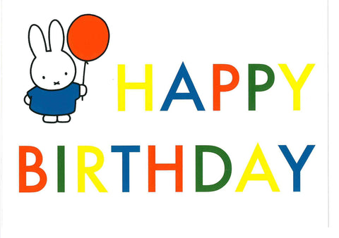 QDB0122 Card Dick Bruna Miffy Happy Birthday - My Messy Room