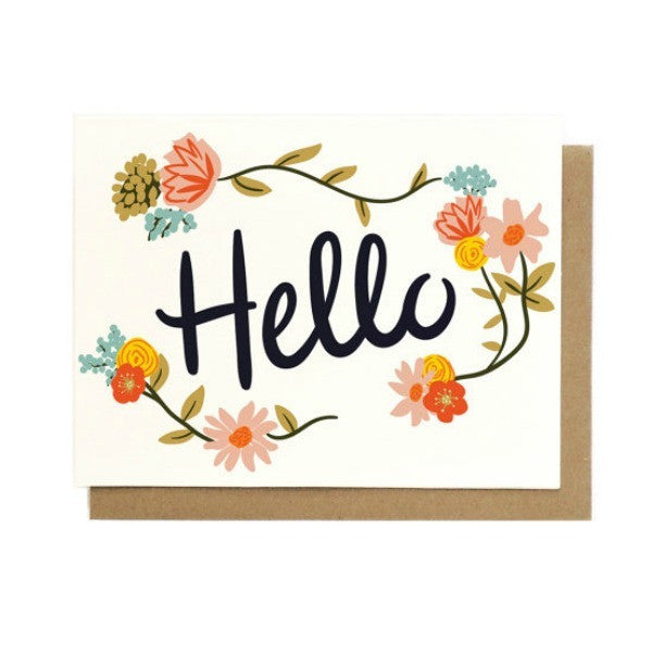Hello Floral Card in Singles & Box Set - My Messy Room - 1