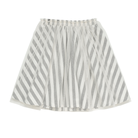 S18 Rock Your Kid Stripe Overlay Skirt - Black  (Pre-Order)
