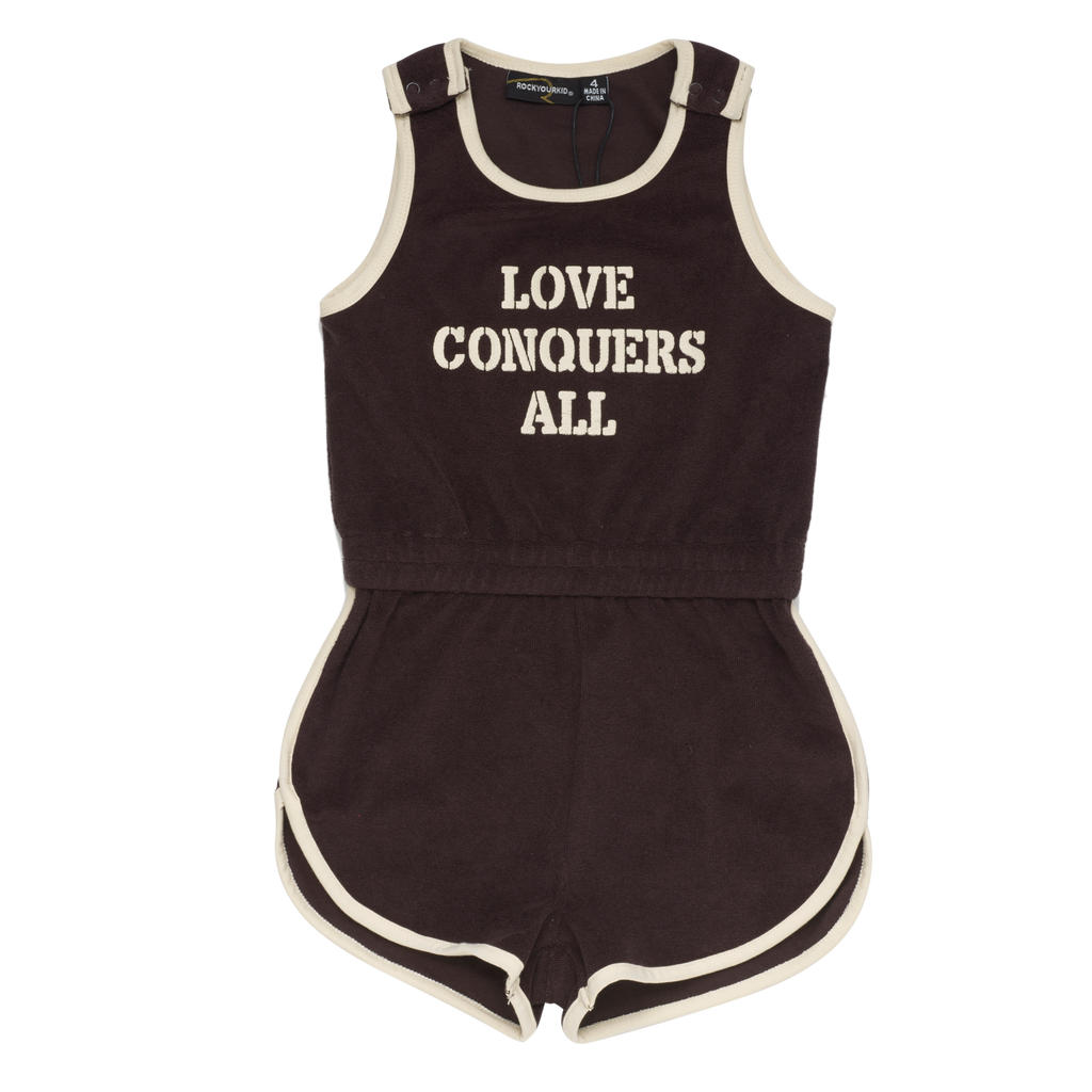 S18 Rock Your Kid Love Conquers Singlet Romper