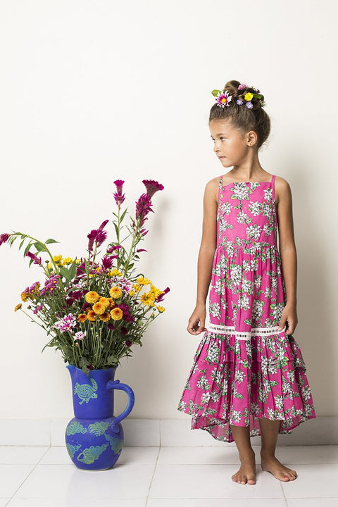 S17 Coco and Ginger Lilac Dress - Cerise Floral