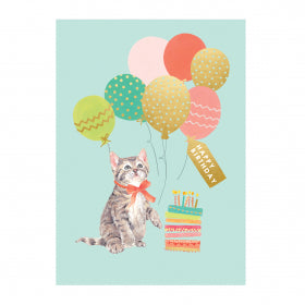 Louise Tiler Happy Birthday Kitty Card FA014