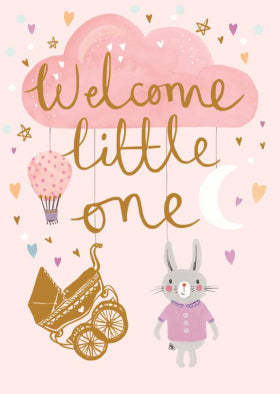 SD002 Louise Tiler Welcome Little One Card (Pink)
