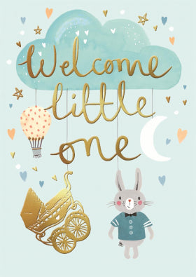 SD007 Louise Tiler Welcome Little One Card (Blue)