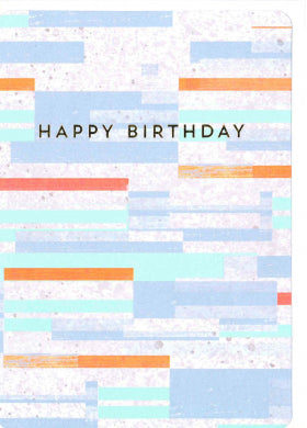 Oliver Bonas Happy Birthday Card BLOC STRIPES