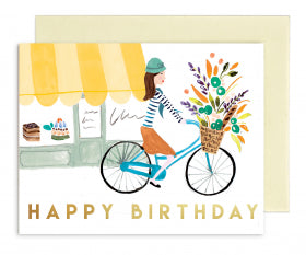 OOH001 Rhys McArdle Floral Birthday Bicycle Card