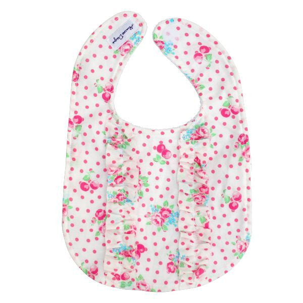 Alimrose Designs Double Ruffle Bib - White Floral - My Messy Room - 1