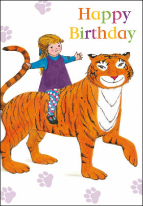 Woodmansterne 406652 The Tiger Who Came to Tea Happy Birthday Card