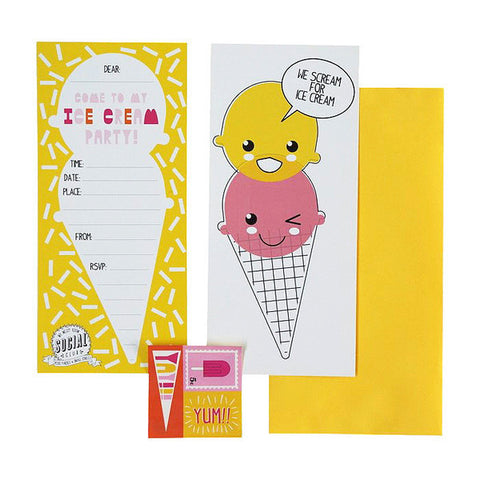 MMR Social Club 12 Ice Cream Party Invitations - My Messy Room - 1