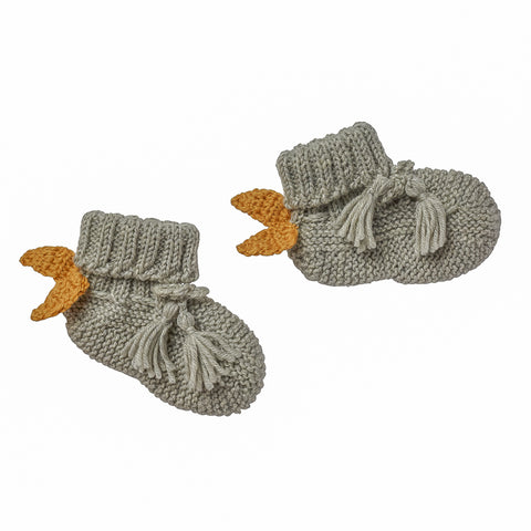 W18 Acorn Angel Wing Booties - Grey