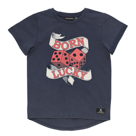 S18 Rock Your Kid Born Lucky SS Tshirt