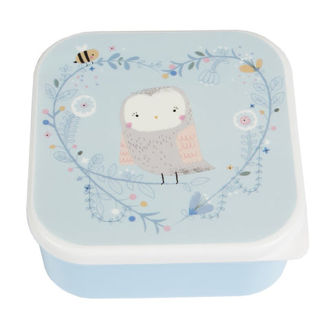 Woodland Owl Snack Box - Pale Blue