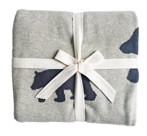 Alimrose Designs Bear & Star Cot Blanket - Charcoal 100 x120cm