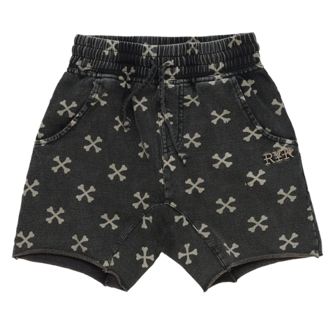 S18 Rock Your Kid Cross Bone Short - Charcoal Wash