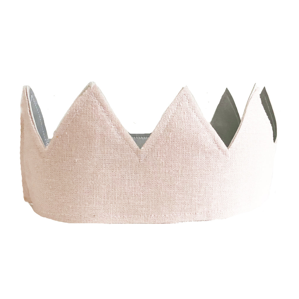 Alimrose Fabric Crown - Pink Linen and Silver