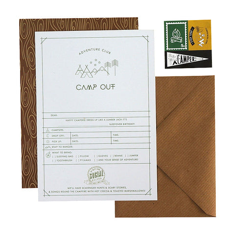 MMR Social Club 12 Camp Out Invitations - My Messy Room - 1