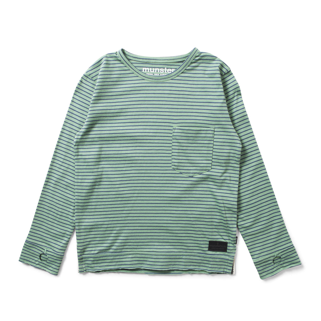 Munster Kids W17 Fighter 2 LS Top - Green Stripe