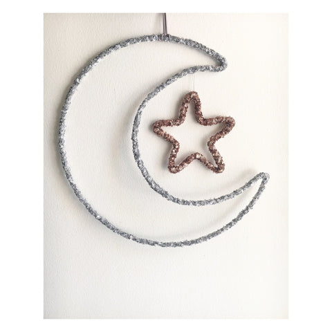 Twentyone Fifteen Moon & Star Wall Hanging - Silver & Rose Gold