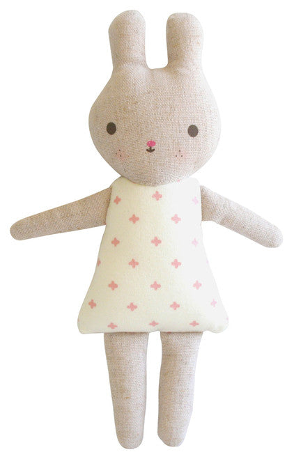 Alimrose Linen Bonnie Bunny Rattle - Pink Cross