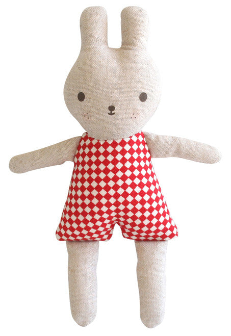 Alimrose Linen Bonnie Bunny Rattle - Red Check