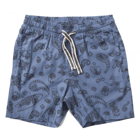 S18 Munster Kids Boardart Walk Short - Blue Paisley (Drop2)